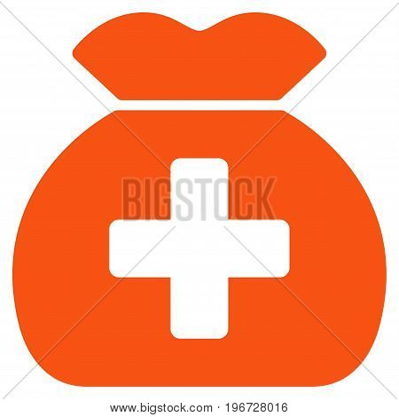 Medical Fund Sack vector icon. Style is flat graphic symbol.
