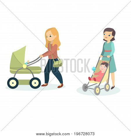 Mothers with kids walking. Isolated women with prams on white background.