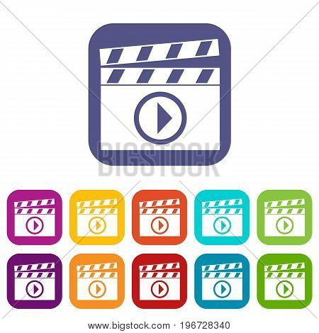 Clapperboard for movie shooting icons set vector illustration in flat style in colors red, blue, green, and other