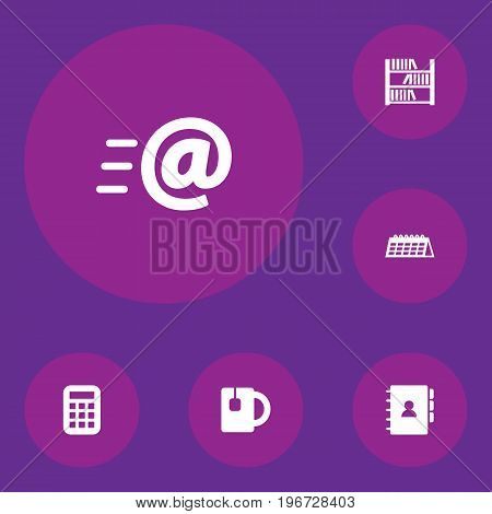 Collection Of Book, Date, Calculate And Other Elements.  Set Of 6 Bureau Icons Set.