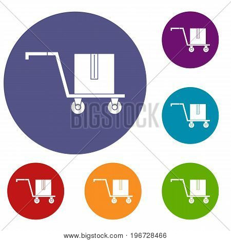 Delivery cart with box icons set in flat circle red, blue and green color for web