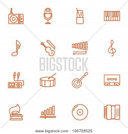 Collection Of Harmonica, Turntable, Pace And Other Elements.  Set Of 16 Melody Outline Icons Set.