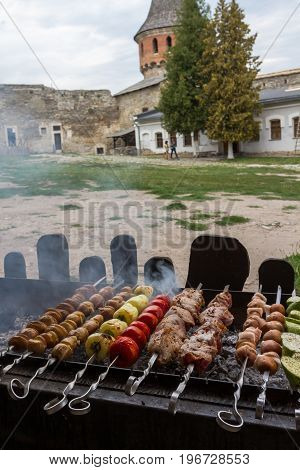 Shish Kebabs On The Grill.