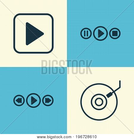Multimedia Icons Set. Collection Of Gramophone, Start Song, Music Control And Other Elements