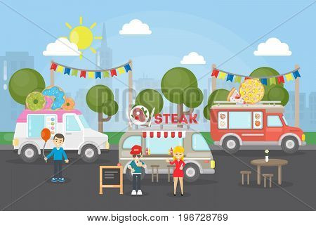 Park food festival. People with the food trucks sell street food and have fun.