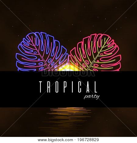 Tropical beach party card. Exotic neon leaves background.