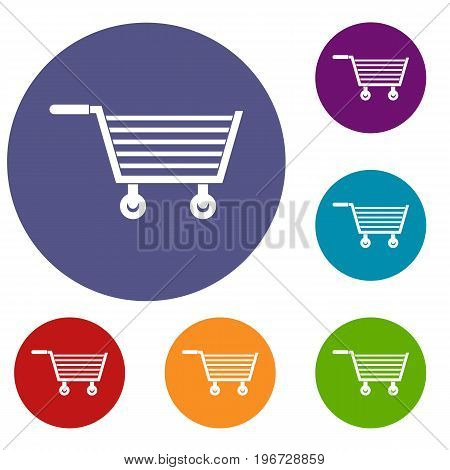 Online shopping icons set in flat circle red, blue and green color for web
