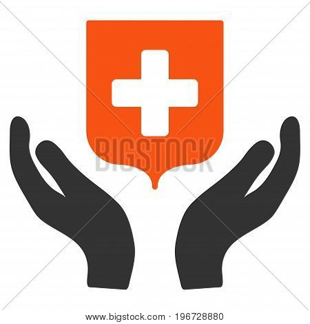 Medical Shield Care Hands vector pictograph. Style is flat graphic symbol.