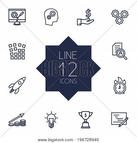 Collection Of Achievement, Planning, Working Process And Other Elements.  Set Of 12 Business Outline Icons Set.