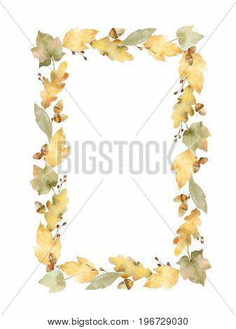 Watercolor rectangular frame of leaves and branches isolated on white background. Autumn illustration
