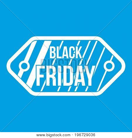 Black Friday sale tag icon white isolated on blue background vector illustration