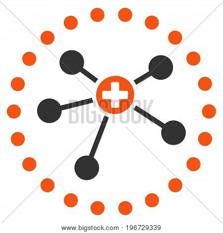 Rounded Medical Connections vector pictogram. Style is flat graphic symbol.