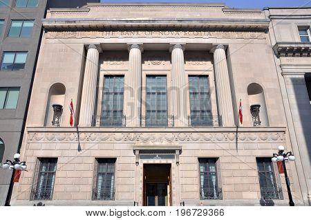 OTTAWA, CANADA - MAR. 10, 2012: Antique building of Bank of Nova Scotia, Ottawa, Ontario, Canada