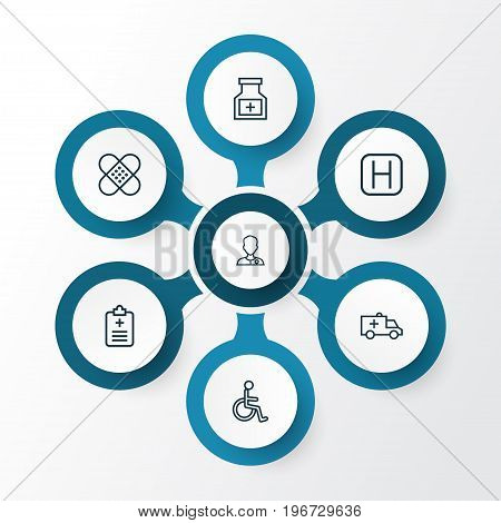 Drug Outline Icons Set. Collection Of Rapport, Hospital, Medicine And Other Elements
