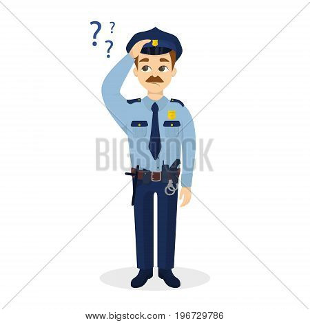 Policeman with question marks. Isolated character on white backgrond.
