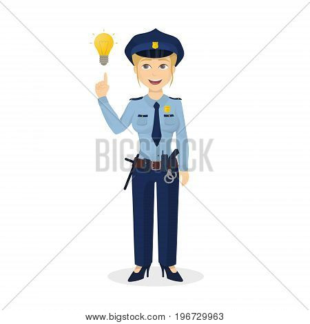 Isolated policewoman with idea on white background.