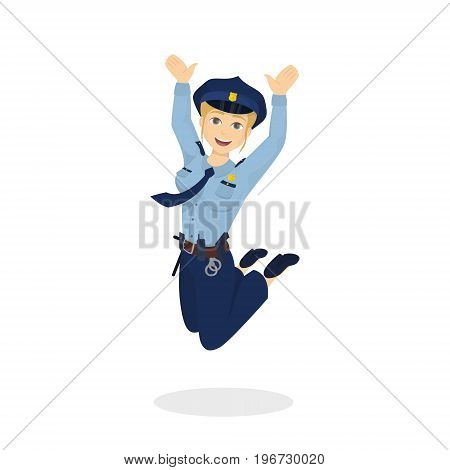 Isolated jumping policewoman on white background. Happy positive woman.