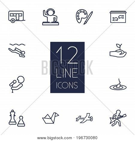Collection Of Camping, Dj, Diving And Other Elements.  Set Of 12 Lifestyle Outline Icons Set.