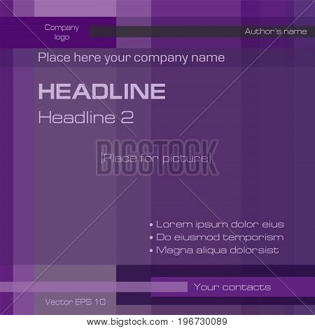 Geometric background, technology template, dark purple, deep violet, square. Layout modern design with text for cover, magazine, brochure, prospectus, business presentation, poster. EPS10 vector illustration