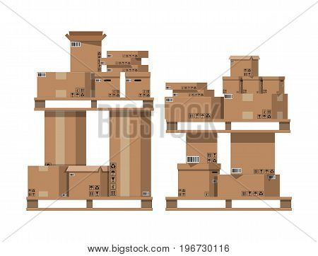 Pile cardboard boxes on wooden pallets. Carton delivery packaging open and closed box with fragile signs. Vector illustration in flat style