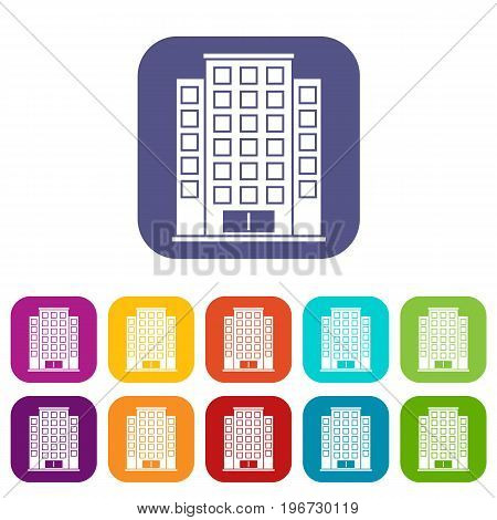 Skyscraper icons set vector illustration in flat style in colors red, blue, green, and other