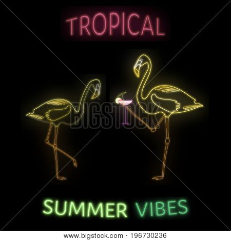 Summertime. Tropical summer vibes with flamingos and cocktail in neon style.