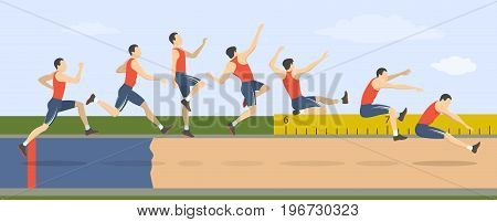 Long jump illustration. Man shows how to triple jump.