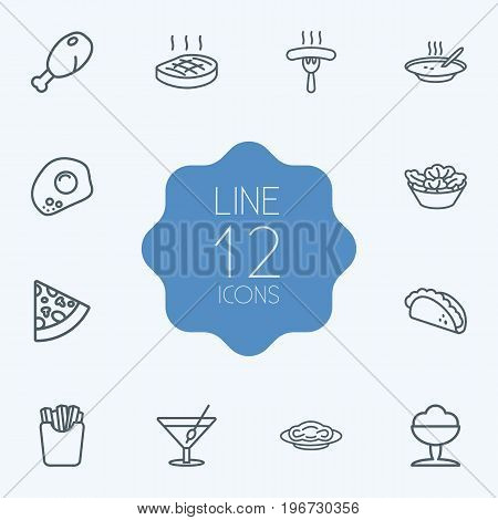 Collection Of Mexican Food, French Fries, Steak And Other Elements.  Set Of 12 Food Outline Icons Set.
