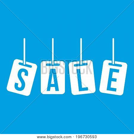 Hanging sales tags icon white isolated on blue background vector illustration