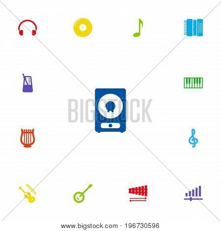 Collection Of Octave Keyboard, Quaver, Harmonica And Other Elements.  Set Of 13 Music Icons Set.