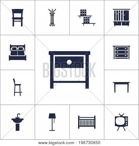Collection Of Chair, Commode, Sink And Other Elements.  Set Of 13 Situation Icons Set.