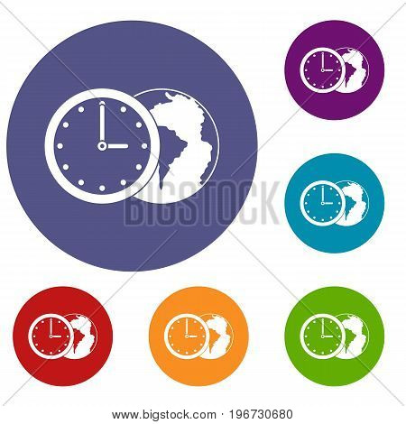 World planet with watch icons set in flat circle red, blue and green color for web