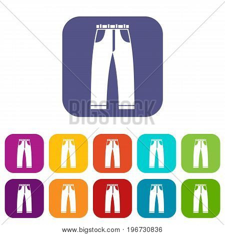 Jeans icons set vector illustration in flat style in colors red, blue, green, and other
