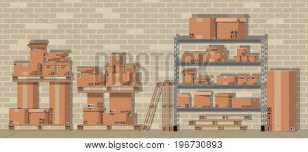 Pile cardboard boxes on warhouse shelves. Carton delivery packaging open and closed box with fragile signs. Brick wall. Vector illustration in flat style