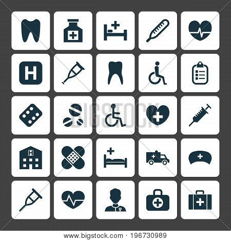 Drug Icons Set. Collection Of Polyclinic, Tent, Remedy And Other Elements