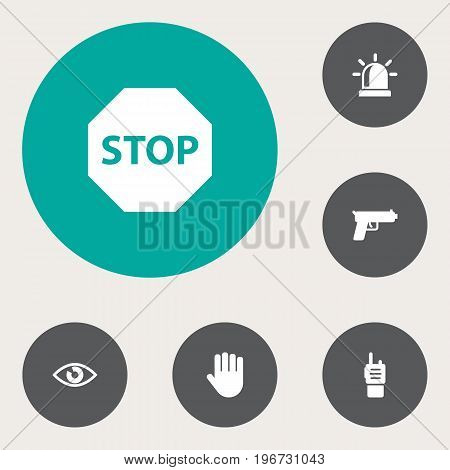 Collection Of Look, Hand , Remote Elements.  Set Of 6 Security Icons Set.