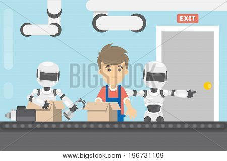 Working without human. Robot expells human from factory, Robots changes people on conveyor.