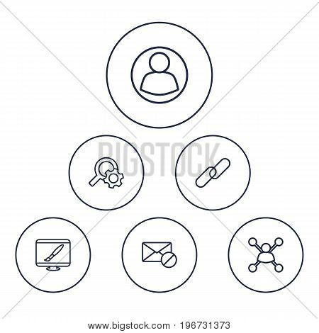 Collection Of Style, Search, Url And Other Elements.  Set Of 6 Search Outline Icons Set.