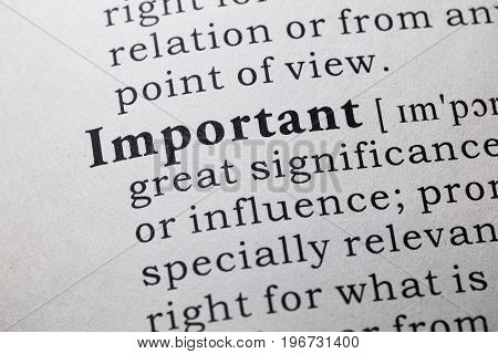 Fake Dictionary Dictionary definition of the word important.