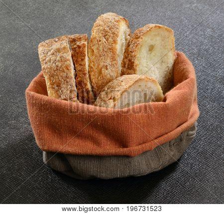 Sliced bread basked.