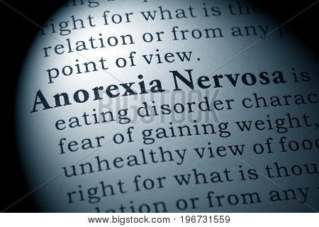 Fake Dictionary Dictionary definition of the word anorexia nervosa.