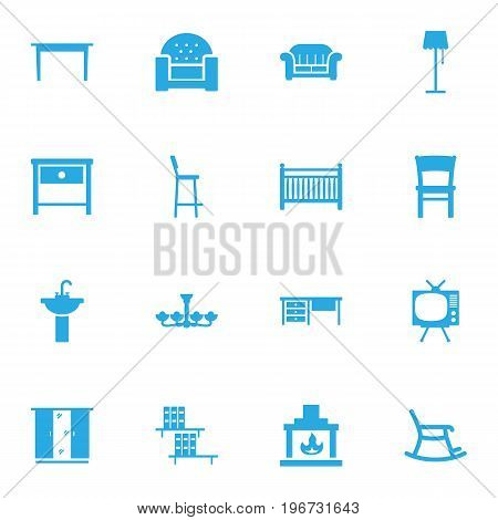 Collection Of Worktop, Rocking Furniture, Television And Other Elements.  Set Of 16 Decor Icons Set.