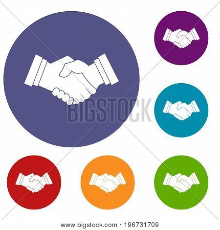 Business handshake icons set in flat circle red, blue and green color for web