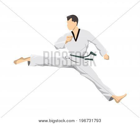 Taekwondo sport athlete. Man in uniform posing.