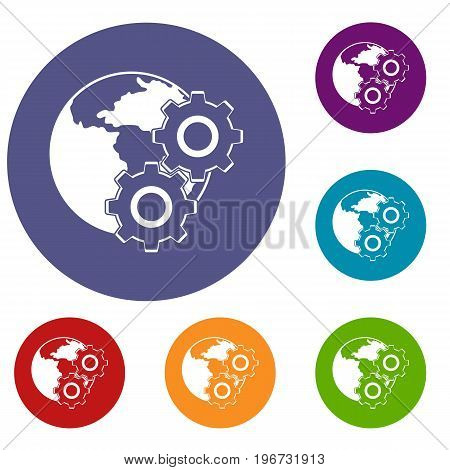 World planet and gears icons set in flat circle red, blue and green color for web