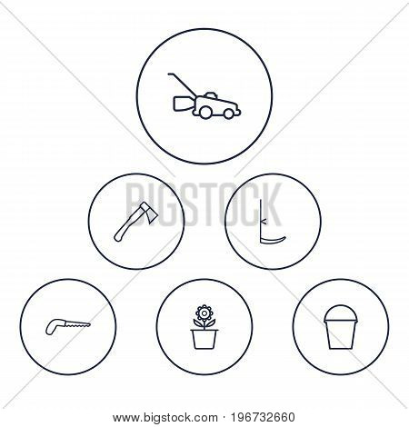 Collection Of Hatchet, Arm-Cutter, Scythe And Other Elements.  Set Of 6 Household Outline Icons Set.