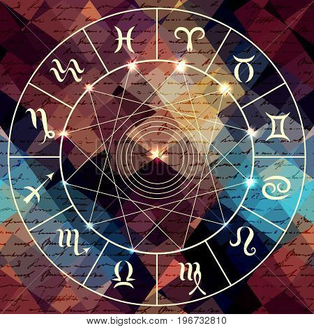 Magic circle with zodiacs sign on abstract grunge background.