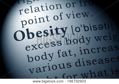 Fake Dictionary Dictionary definition of the word obesity.