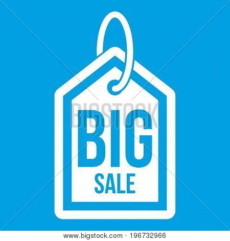 Big sale tag icon white isolated on blue background vector illustration