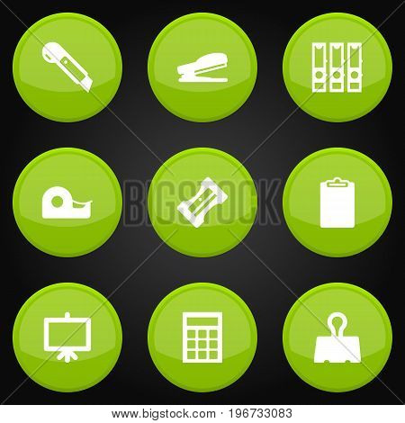Collection Of Sticky, Puncher, Binder And Other Elements.  Set Of 9 Stationery Icons Set.